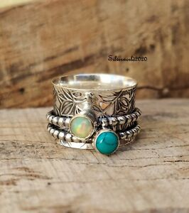 Turquoise Spinner Ring 925 Sterling Silver Plated Handmade Ring Size 9 hh64