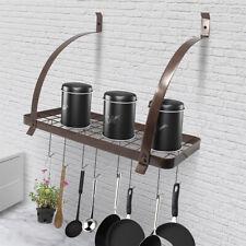 Kitchen Pot Pan Rack Organizer Storage Wall Holder Cookware Hanging w/10 Hooks