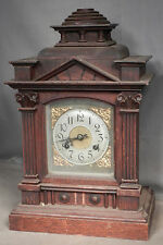 Antique Germany Oak Classical Temple Bracket Mantel Clock Carved Bad Spring