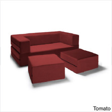 Jaxx Loveseat Couch Sofa Bed Ottomans Convertible Queen Sleeper Bench Tomato New