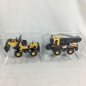 "Tonka Bulldozer & Crane Diecast 4"" Mini Trucks Construction 2001 Maisto Hasbro"