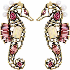 Betsey Johnson Gold & Blush Pink Crystal & Resin Pearl Stud Seahorse Earrings
