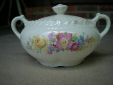 Whitechapel Translucent Themoware SUGAR BOWLwith Multi-Color Flowers