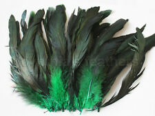 "100+ pcs.(16g) 6-8"" half bronze emerald green schlappen coque rooster feathers"