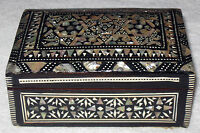 Antique/Vintage Vanity/Dressing Wooden Box With Inlaid Mother of Pearl 5 x 3 x2