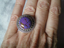 Purple Turquoise ring, size N/O, 11 carats, in 9.05 grams of 925 Sterling Silver