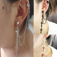 1Pair Womens Rock Punk Crosses Tassel Chain Ear Wrap Cuff Stud Clip Earring Gift