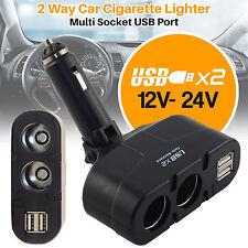 2 Way Car Charger Cigarette Lighter 12V 24V Multi Socket Twin USB Charger Ada...