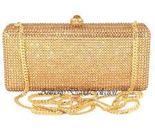 Anthony David Gold Crystal Metal Clutch Evening Bag with Swarovski Crystals