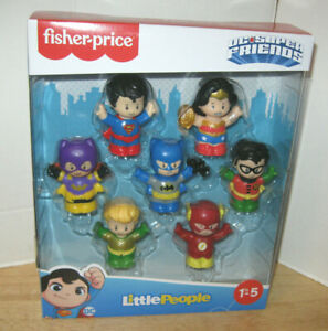 Fisher-Price Little People ~ DC Comics Super Friends 7 Figure Pack ~ NIP