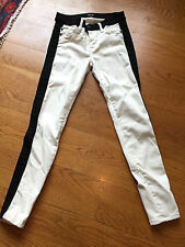 HUDSON 'LeeLoo' Block Beige Skinny Jeans with Black Trim, Size 26