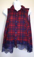 Almost Famous Women's Sleeveless Plaid Button Up Shirt Medium