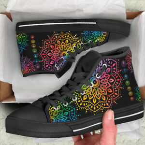 7 Chakras Pattern Men's And Women's High Top Shoes - US Size - HQ Canvas Shoes