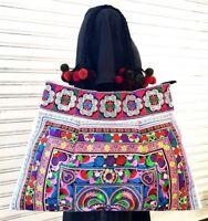 Hmong Shoulder Bags Tribe Handmade Bird Embroidered Bag Bohemian Multi Color