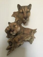 Mill Creek Studios Mountain Home Cougars Wall Sculpture Randall Reading Signed #