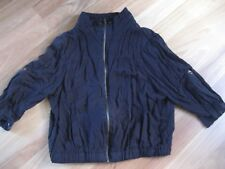 LADIES CUTE BLACK ZIP FRONT 3/4 SLEEVE JACKET / TOP BY COTTON ON - SIZE M 12/14