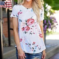 Women Loose Short Sleeve Blouse Casual Cotton Top T-Shirt Lady Floral Shirt Tee