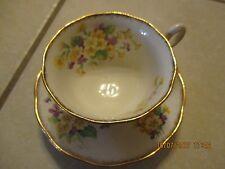 Royal Albert Tea Cup & Saucer Gold Trim Yellow Primroses Purple Violets England