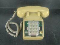 Vintage USA Comdial Corded Desk Phone Landline Push Button Beige Telephone