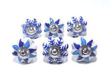 Schrankknöpfe / Möbelknopf Keramik ,Knopfset,Blau,Weiß, Muster gemischt 6 Stück