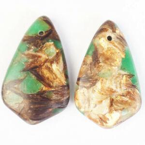 2Pcs Green Jade Gold Copper Bornite Shield Pendant Bead 33x20x6mm F50004