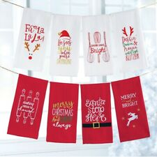 New Set of 8 Mud Pie Holiday CHRISTMAS WAFFLE TOWELS White Red Baking Fun gift