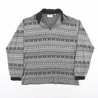 Vintage Black & White 1/4 Zip Pattern Lightweight Pullover Jumper Size Mens M