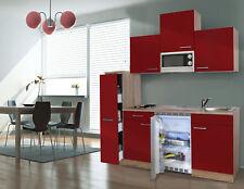 Küche Küchenzeile Singleküche Küchenblock 150 cm Eiche Sägerau rot respekta