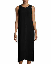 Eileen Fisher NWT black 100% silk georgette crepe sleeveless dress suze Medium/L