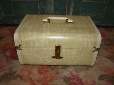 Vintage Mid Century Maximillian Maxonite Luggage Train Case Marbleized Beige HTF