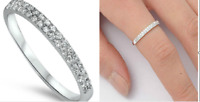 Sterling Silver 925 SEMI HALF ETERNITY WEDDING BAND CLEAR CZ RING 4MM SIZE 3-10