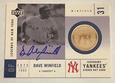 2001 UD Legends of New York DAVE WINFIELD Bat Auto Autograph