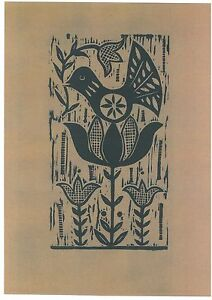 """Original Woodcut-Print """"Morning"""" by Lithuanian Traditional Artist"""