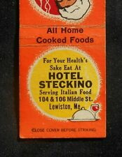 1940s Hotel Steckino Itailain Spaghetti 104 106 Middle St. Lewiston ME Matchbook