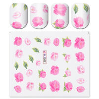 Water Decals Pink Peony Flower Elegant Manicure Nail Art Transfer Stickers Tips