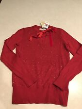 Michael Kors Women's Sweater Sequin Red Blaze Size XS NWT