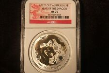 2012 Gilt Australia $1 Year Of The Dragon Silver Coin MS 70 BEAUTIFUL
