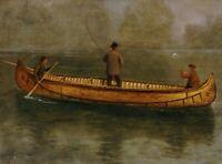 Fishing From A Canoe Albert Bierstadt Fine Art Print on Canvas Repro Small 8x10