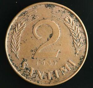 RARE Key Date LATVIA Lettland Lettonia 2 Santimi 1937 coin M910