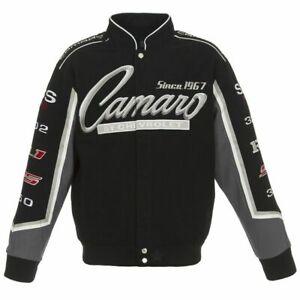 Chevy Camaro Unisex Adult Jacket Black Twill Collage CLG7  JH Design New 'SALE'