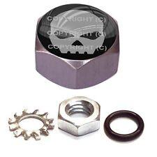 Grey Hex Billet - Custom Horn Cover Mounting Nut Kit For Harley - Grey Skull B