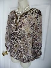 CHICO'S 2 Blouse Shirt Animal Print 100% Silk Studded Beaded Front Peasant NICE