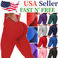 US Women Push Up Leggings Yoga Pants Anti Cellulite GYM Ruched Scrunch Trousers