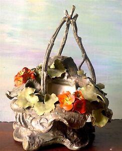 Antique Naturalistic Basket PlanterBoughs Flowers Leaves