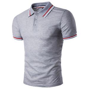 Men Shirts Tops Tee Shirt Slim Fit Short Sleeve Solid Color Casual Golf T-Shirt