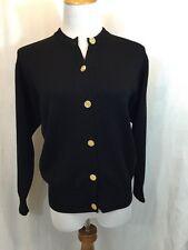 BALLANTYNE Merino 2000 Women's 38-S Black W/ Gold Buttons Cardigan Sweater VGUC