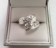 Silver Tone Ring - Spiral Cross Over Design - UK Seller - Perfect Gift