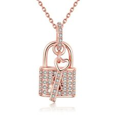 Elegant 18k 18CT Rose Gold Filled GF Lock Key Crystals Pendant Necklace N535