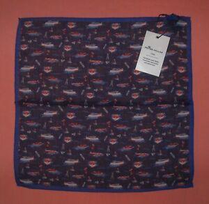 NWT Mens Peter Millar Crown Wool Pocket Square Made In Italy Cruising Print Navy