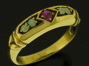 R301 Genuine 9K 9ct Yellow Gold NATURAL Ruby & Opal Anniversary Band Ring size 8